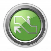 stock photo of escalator  - Icon Button Pictogram with Escalator Up symbol - JPG