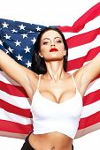 picture of independent woman  - Sexy woman with usa flag star spangled banner independence day 4th july - JPG