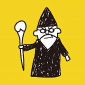 stock photo of wizard  - Wizard Doodle - JPG