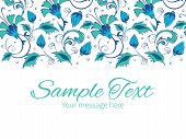 foto of swirly  - Vector blue green swirly flowers horizontal border greeting card invitation template graphic design - JPG