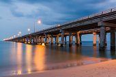 pic of virginia  - The Chesapeake Bay Bridge as seen at Twilight on the Virginia Beach side of the Chesapeake Bay - JPG