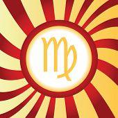 foto of virgo  - Yellow icon with zodiac Virgo symbol - JPG
