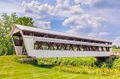 image of yesteryear  - The Johnston Covered Bridge built in 1887 crosses Clear Creek in rural Fairfield County Ohio - JPG