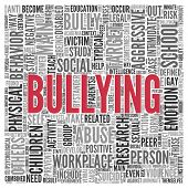 stock photo of school bullying  - Close up BULLYING Text at the Center of Word Tag Cloud on White Background - JPG