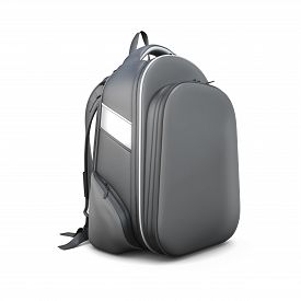 stock photo of sling bag  - Black backpack isolated on white background - JPG