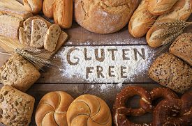 pic of carbohydrate  - A gluten free breads on wood background - JPG