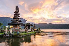 image of hindu  - Pura Ulun Danu Bratan Hindu temple on Bratan lake Bali Indonesia - JPG