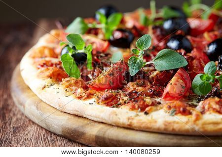 Pizza with Cherry Tomatoes, Olives and Herbs