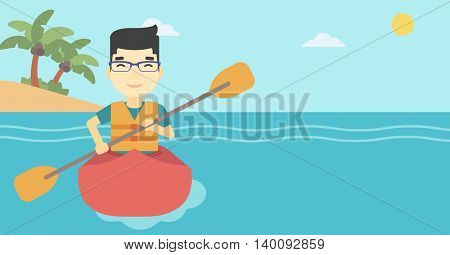 An asian sportsman riding in a kayak in the sea. Young man traveling by kayak. Male kayaker paddling