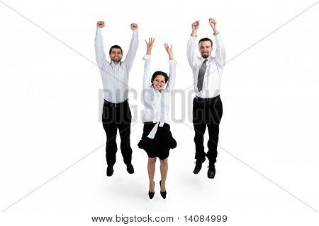 Постер, плакат: Бизнесмены прыжки, холст на подрамнике