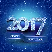 Happy new year 2017 blue background. New Years greetings card. Vector illustration poster