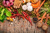 Постер, плакат: Assortment Of Thai Food Cooking Ingredients red Curry Paste Ingredients Of Thai Popular Food On Rus