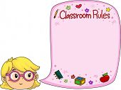 Illustration of a Little Girl Presenting Classroom Rules poster