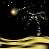 stock photo of glow-worm  - Vector Christmas palm tree with falling star in desert - JPG