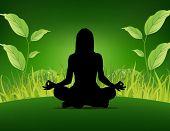 Постер, плакат: Йога плакат женщина сидящая на фоне травы