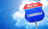 cinderella, 3D rendering, blue street sign poster