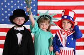 Kids dressed up in patriotic costumes