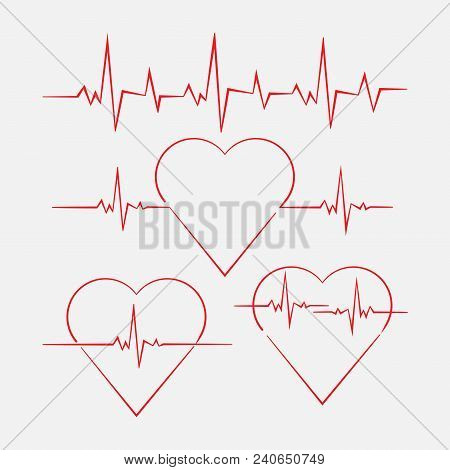 poster of Heart With Cardiogram, Heart Rate, Cardiogram Measurement, Medicine, Vector Image
