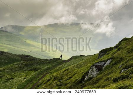 poster of Traveling Outdoor Hiking Walking Nature. Traveling In Nature. Travel Outdoor Backpacking Nature. Nat
