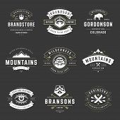 Camping Logos Templates Vector Design Elements And Silhouettes Set, Outdoor Adventure Mountains And  poster