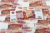 Money Background Of Russian Roubles.  Banknotes One Thousand Rubles.
