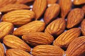 Almond Pile Closeup. Almond Photo Background. Organic Food Simple Banner Template. Tasty Healthy Sna poster