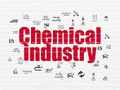 Industry Concept: Painted Red Text Chemical Industry On White Brick Wall Background With  Hand Drawn poster