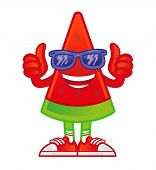 Icon Funny Tasty And Fresh Piece Watermelon In Sunglasses And Sneakers Show Thumbs Up. Tasty Street  poster