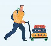 Vector Cartoon Illustration Of Young Man Pushing Airport Trolley With Luggage, Suitcases, Bags, Man  poster
