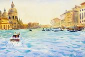 Grand Canal In Venice, Italy. Santa Maria Della Salute Church. Motor Boats Are The Main Transport In poster