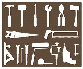 pic of pegboard  - vector set of various tools isolated on brown background - JPG