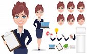 Businesswoman Cartoon Character Creation Set. Beautiful Business Woman In Office Style Clothes. Buil poster