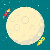 Rocket Ship In A Flat Style. Vector Illustration With Flying Rocket. Space Travel To The Moon. Space poster