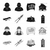 Drawing Accessories, Metropolis, House Model. Architecture Set Collection Icons In Black, Monochrome poster