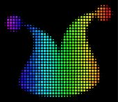 Pixel Impressive Halftone Joker Hat Icon In Spectral Color Tints With Horizontal Gradient On A Black poster