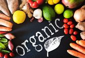 Top View Closeup Shot Of Fresh Organic Vegetables And Fruits On Slate Background With Word Organic,  poster