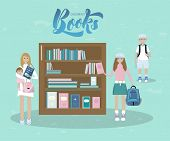 Vector Illustration Of Mother And Her Baby, A Boy With Book, A Girl With Book In Book Shop. With Ins poster