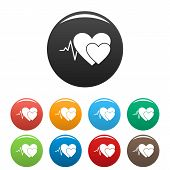 Cardiology Icon. Simple Illustration Of Cardiology Vector Icons Set Color Isolated On White poster