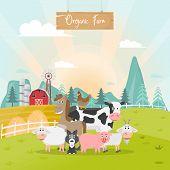Cute Animals Farm Cartoon In Organic Rural Farm. Vector Illustration poster