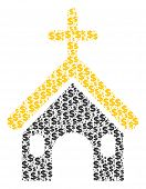 Christian Church Collage Of Dollars And Sphere Dots. Vector Banking Signs Are Grouped Into Christian poster