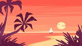 Vector Cartoon Style Background Of Sea Shore With Palm Trees. Sunrise And A Ship Far Away On The Hor poster