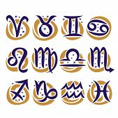 Vector Set Of Zodiac Signs, Collection Of 12 Astrology Calligraphic Symbols With Stars For Predictin poster