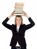 Blonde Businesswoman With Many Books