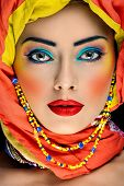 Bright African Creative Makeup On The Face Of Caucasian Girl poster