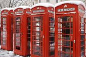 stock photo of phone-booth  - Red telephone box in London - JPG