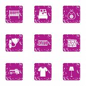 Vital Space Icons Set. Grunge Set Of 9 Vital Space Vector Icons For Web Isolated On White Background poster