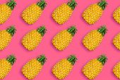 Pineapple Pattern, Conceptual Image. Ripe Tropical Fruit On Vivid Pink Background, Summertime Minima poster