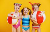 Funny Funny Happy Children  Jumping In Swimsuit And Swimming Glasses Jumping On Colored Background poster