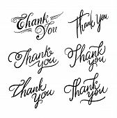Thank You Handwritten Inscription. Hand Drawn Lettering. Thank You Calligraphy. Thank You Card. Vect poster