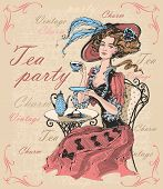 Vintage Lady In A Hat Drinking Tea. Lady In Crinoline. Tea Party. Charm. Vintage. Inscriptions.  Tim poster